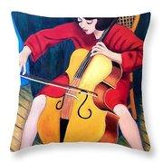 Woman Playing Cello - Bereny Robert Study Throw Pillow