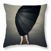 Woman With Huge Umbrella Throw Pillow