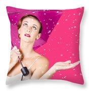Woman With Umbrella Throw Pillow