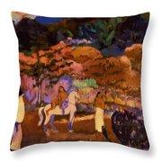 Women And White Horse 1903 Throw Pillow