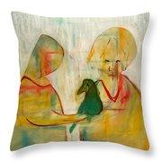 Women Holding A Bird Throw Pillow