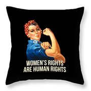Womens Rights Are Human Rights Tshirt Throw Pillow