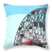 Wonder Wheel On Blue Throw Pillow