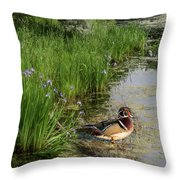 Wood Duck And Iris Throw Pillow by Patti Deters
