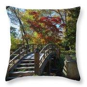 Wooden Bridge In Japanese Garden Throw Pillow by Jemmy Archer