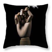 Wooden Hand Holding Flower Throw Pillow
