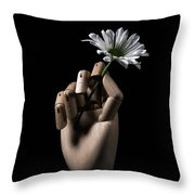 Wooden Hand Holding Flower Throw Pillow