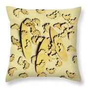 Wooden Wave Riders Throw Pillow