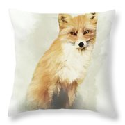 Woodland Fox Portrait Throw Pillow