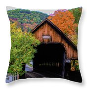 Woodstock Middle Bridge In October Throw Pillow by Jeff Folger