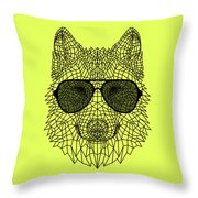 Woolf In Black Glasses Throw Pillow
