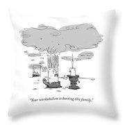 Workaholism Throw Pillow
