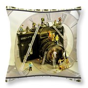 Working Round The Clock Throw Pillow