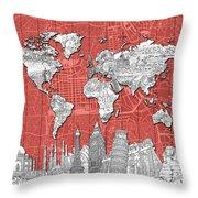 World Map Landmarks Skyline 3 Throw Pillow