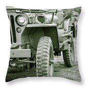 World War II Era Us Army Jeep Throw Pillow