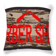 Worn Barber Shop Wooden Store Sign Throw Pillow