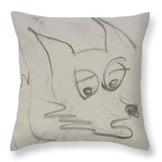 Worried Fox Sketch Throw Pillow