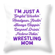 Wrestling Singlet Washin Mom Purple Gift Dark Throw Pillow
