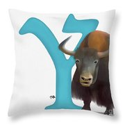 Y Is For Yak Throw Pillow
