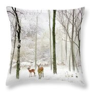Forest Winter Visitors Throw Pillow