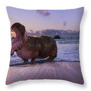 Yawning Coastal Hippo Hello Throw Pillow