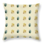Yellow And Green Present Pattern Throw Pillow