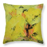 Yellow Blooms Coral Accents Throw Pillow