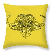 Yellow Buffalo Throw Pillow