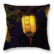 Yellow Chinese Lanterns On Wire Illuminated At Night  Throw Pillow