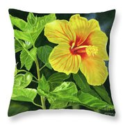 Yellow Hibiscus With Bright Green Leaves Throw Pillow