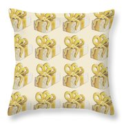 Yellow Presents Pattern Throw Pillow