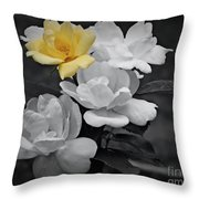 Yellow Rose Cluster Partial Color Throw Pillow
