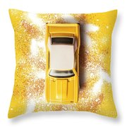 Yellow Street Machine Throw Pillow