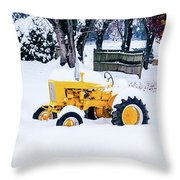Yellow Tractor In The Snow Throw Pillow