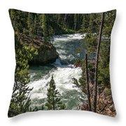 Yellowstone Rapids Throw Pillow