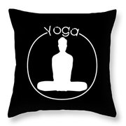 Yoga Image Of Silhouette Of Woman Sitting In Lotus Position Or Padmasana Throw Pillow