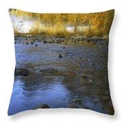 Yosemite River In Yellow Throw Pillow