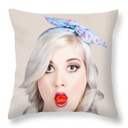 Young Beautiful Woman Holding A Bottle Cap In A Mouth Throw Pillow