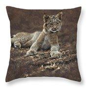 Young Bobcat By Alan M Hunt Throw Pillow by Alan M Hunt