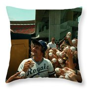 Young Fans Hold Up Baseballs For Royals Star George Brett To Sign Throw Pillow