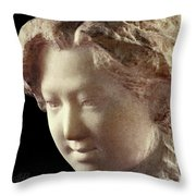 Young Girl-part-arttopan Carving-realistic Stone Sculptures-marble Throw Pillow