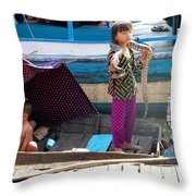 Young Girl With Snake 2, Cambodia Throw Pillow