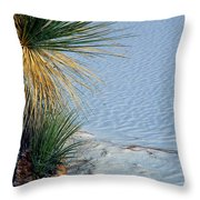 Yucca Plant In Rippled Sand Dunes In White Sands National Monument, New Mexico - Newm500 00113 Throw Pillow