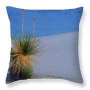 Yucca Plant In Sand Dunes In White Sands National Monument, New Mexico - Newm500 00112 Throw Pillow
