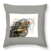Z Is For Zebra Finch Throw Pillow