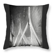 Zakim Bridge Boston Massachusetts Black And White Throw Pillow