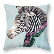 Zebra Blue Throw Pillow by Animal Crew