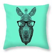 Zebra In Glasses Throw Pillow