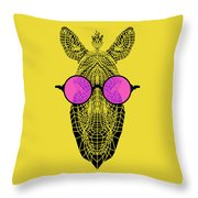 Zebra In Pink Glasses Throw Pillow