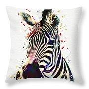 Zebra Watercolor Painting Throw Pillow